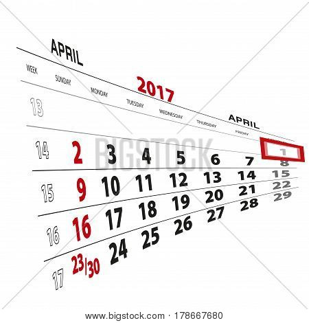 April 1, Highlighted On 2017 Calendar.