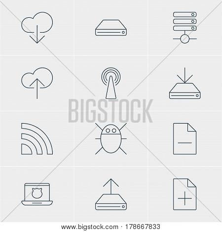 Vector Illustration Of 12 Internet Icons. Editable Pack Of Hdd Sync, Data Upload, Cloud Download And Other Elements.