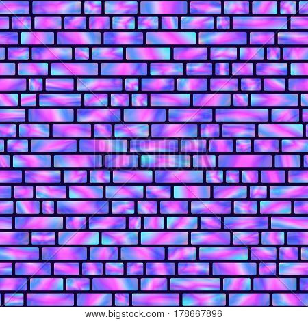 Seamless Pattern of Blue and Pink Holographic Rectangles. Creative Geometric Background Continued Design.