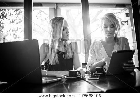 Two Young Blond Female Business Women Having A Business Meeting In A Coffee Shop Over A Cup Of Espre