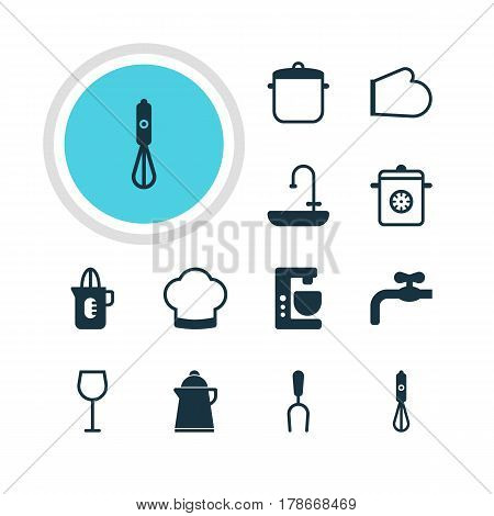 Vector Illustration Of 12 Cooking Icons. Editable Pack Of Chef Hat, Mixer , Handmixer Elements.