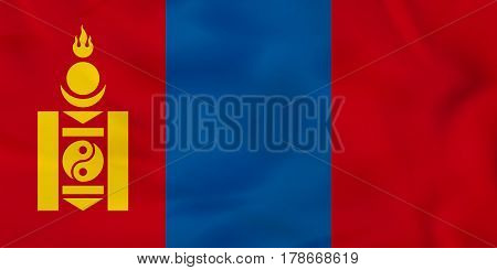 Mongolia Waving Flag. Mongolia National Flag Background Texture.