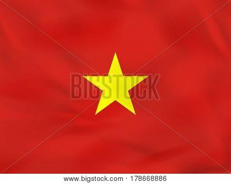 Vietnam Waving Flag. Vietnam National Flag Background Texture.