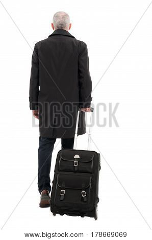 Back View Of Business Man With Carry On Luggage