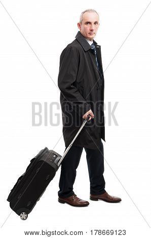 Middle Age Business Man With Carry On Luggage