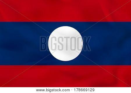 Laos Waving Flag. Laos National Flag Background Texture.