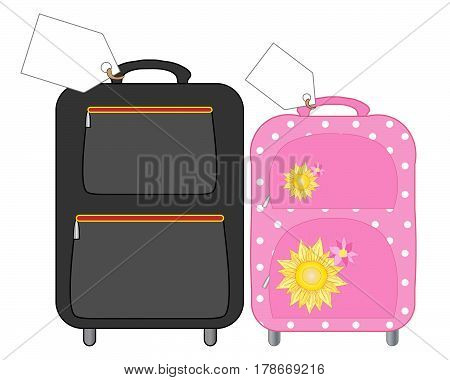 an illustration of suitcases for a man and woman packed for holidays with big white labels on a white background