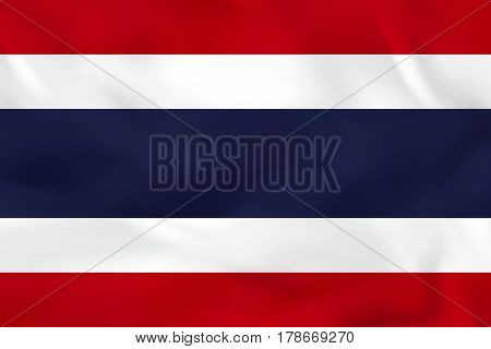 Thailand Waving Flag. Thailand National Flag Background Texture.