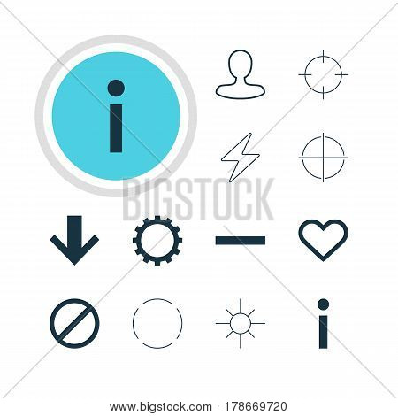 Vector Illustration Of 12 Interface Icons. Editable Pack Of Minus, Bolt, Cogwheel And Other Elements.