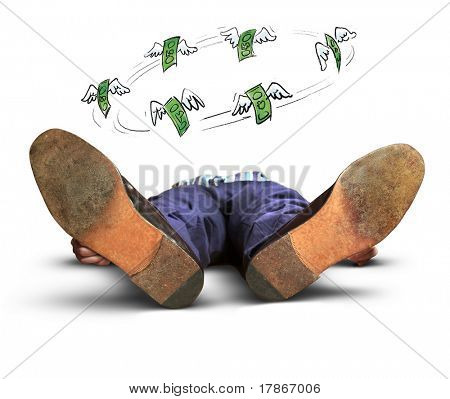 Exhausted or dead man lying on the floor with money bills flying over him
