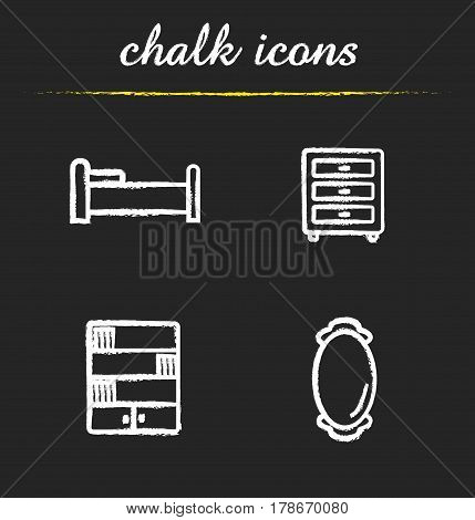 Furniture chalk icons set. Bedroom interior. Bed, nightstand, bookcase, wall mirror. Isolated vector chalkboard illustrations