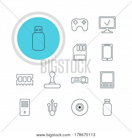 Vector Illustration Of 12 Computer Icons. Editable Pack Of Game Controller, Pda, Storage And Other Elements.