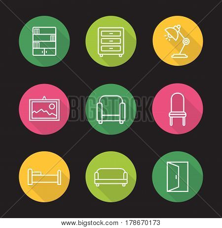 Furniture flat linear long shadow icons set. Bookcase, dresser, desk lamp, wall picture, armchair, chair, bed, sofa and open door exit. Vector line illustration