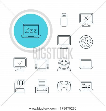 Vector Illustration Of 12 Computer Icons. Editable Pack Of Access Denied, Web Camera, Cooler And Other Elements.