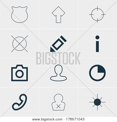 Vector Illustration Of 12 User Icons. Editable Pack Of Cancel, Upward, Handset Elements.