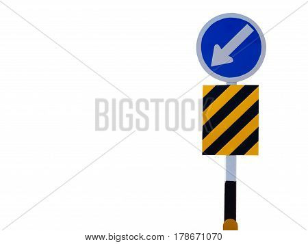 Keep right left sign and symbols isolate on white background