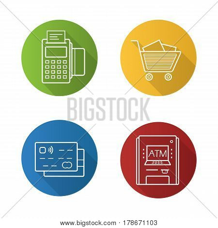 Supermarket flat linear long shadow icons set. Credit cards, pos terminal, bank atm machine, supermarket shopping cart with boxes. Vector line illustration