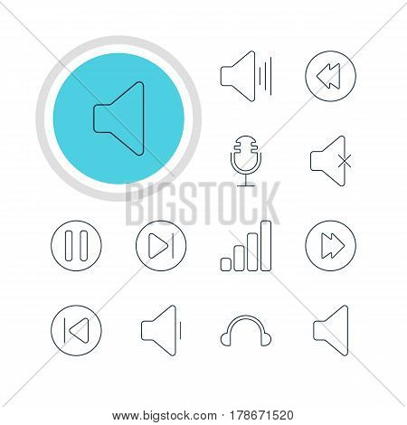 Vector Illustration Of 12 Music Icons. Editable Pack Of Speaker, Volume Up, Advanced And Other Elements.