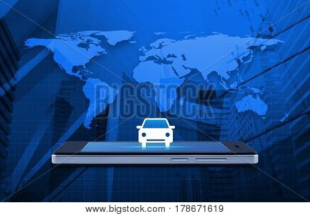 Car flat icon on modern smart phone screen over world map and office city tower Business transportation service concept Elements of this image furnished by NASA