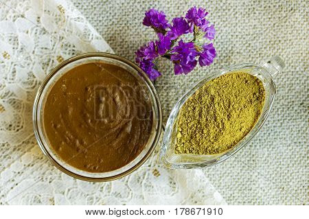Henna powder. Henna paste. Prepare the henna paste at home. Focus on the powder