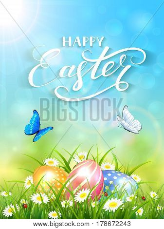 Blue nature background with sun beams and lettering Happy Easter, flying butterflies and three colorful Easter eggs on grass and flowers, illustration.