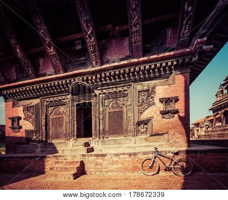 Bhaktapur, Nepal - October 8, 2011: Closeup Of Temple Entrance (image Taken Before The Big Earthquak