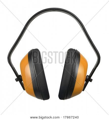 Black and orange plastic earphone protectors with clipping path