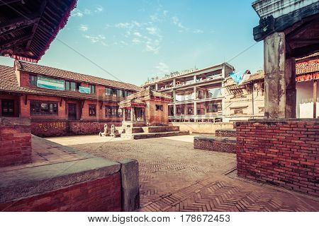 Bhaktapur, Nepal - October 8, 2011: Old Birck Buildings (image Taken Before The Big Earthquake).
