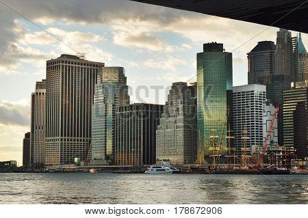 New York City, USA - December 3, 2015: View of Lower Manhattan from the Brooklyn Bridge Park.