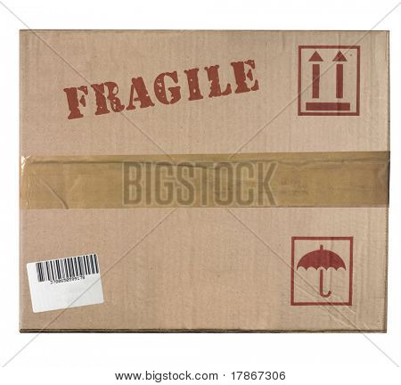 Front view of a cardboard box