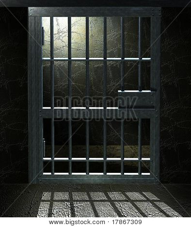 3D Jail cell door with a dramatic light in the inside