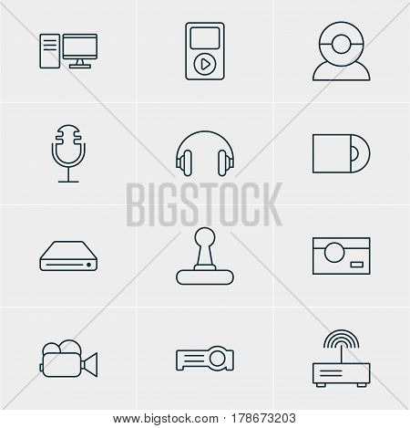 Vector Illustration Of 12 Accessory Icons. Editable Pack Of Game Controller, PC, Sound Recording And Other Elements.