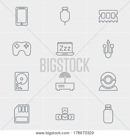 Vector Illustration Of 12 Computer Icons. Editable Pack Of Smartphone, Web Camera, Serial Bus And Other Elements.