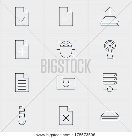 Vector Illustration Of 12 Web Icons. Editable Pack Of Document Adding, Hdd Sync, Router And Other Elements.