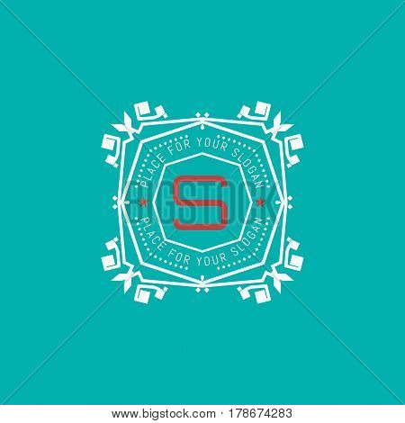The letter S made in modern line style vector. Luxury elegant frame ornament and ethnic tribal elements. Example designs for Cafe, Hotel, Jewelry, Fashion, Restaurant