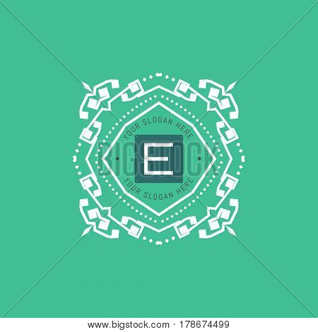 The letter E made in modern line style vector. Luxury elegant frame ornament and ethnic tribal elements. Example designs for Cafe, Hotel, Jewelry, Fashion, Restaurant
