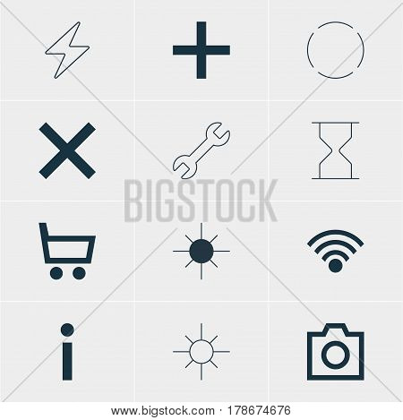 Vector Illustration Of 12 Interface Icons. Editable Pack Of Wheelbarrow, Hourglass, Snapshot And Other Elements.