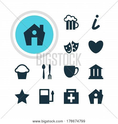 Vector Illustration Of 12 Map Icons. Editable Pack Of Coffee Shop, Bookmark, Heart And Other Elements.