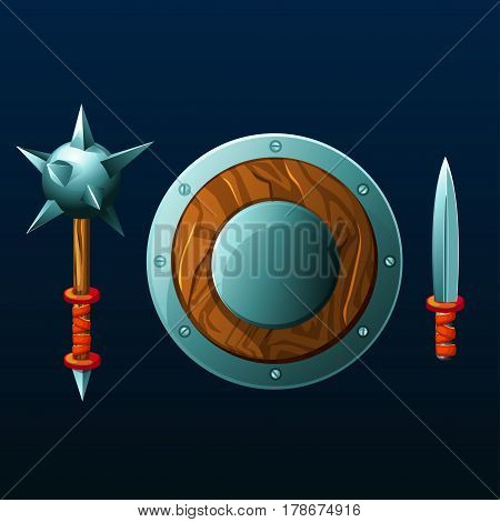 Set of items for game. Different cartoon weapon. Shield, mace and knife