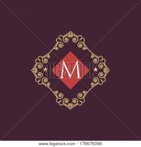 The letter M made in modern line style vector. Luxury elegant frame ornament and ethnic tribal elements. Example designs for Cafe, Hotel, Jewelry, Fashion, Restaurant