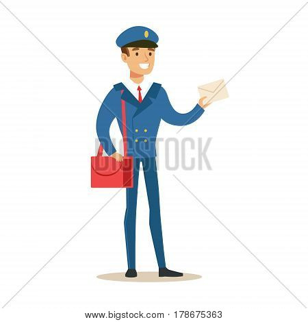 Postman In Blue Uniform Delivering Mail Holding A Letter, Fulfilling Mailman Duties With A Smile. Guy In Post Courier Job Happy With His Profession Vector Cartoon Illustration.