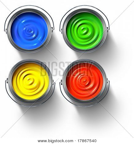 Metal paint cans full of red, green, yellow and blue paint