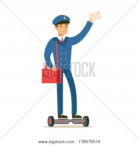 Postman In Blue Uniform On Gyro Scooter Delivering Mail, Fulfilling Mailman Duties With A Smile. Guy In Post Courier Job Happy With His Profession Vector Cartoon Illustration.