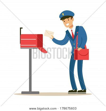 Postman In Blue Uniform Delivering Mail, Putting Letters In Mailbox, Fulfilling Mailman Duties With A Smile. Guy In Post Courier Job Happy With His Profession Vector Cartoon Illustration.