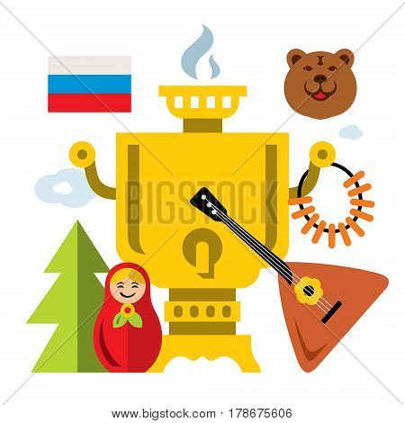 Balalaika, samovar, bear, flag, spruce, matryoshka, bagels. Isolated on a white background