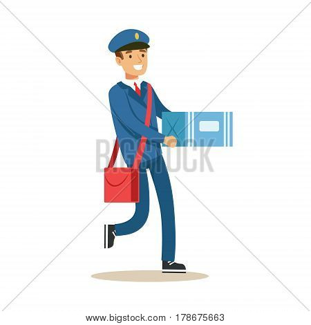 Postman In Blue Uniform Delivering Mail, Carrying A Carton Bax Parcel, Fulfilling Mailman Duties With A Smile. Guy In Post Courier Job Happy With His Profession Vector Cartoon Illustration.