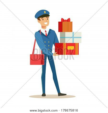 Postman In Blue Uniform Delivering Holiday Gifts And Mail, Fulfilling Mailman Duties With A Smile. Guy In Post Courier Job Happy With His Profession Vector Cartoon Illustration.