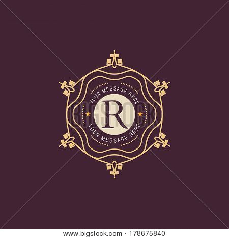 The letter R made in modern line style vector. Luxury elegant frame ornament and ethnic tribal elements. Example designs for Cafe, Hotel, Jewelry, Fashion, Restaurant