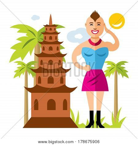 Temple and ladyboy. Isolated on a white background