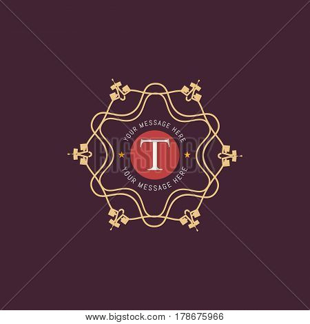 The letter T made in modern line style vector. Luxury elegant frame ornament and ethnic tribal elements. Example designs for Cafe, Hotel, Jewelry, Fashion, Restaurant